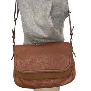 Fossil Peyton Cognac Leather Crossbody Bag Medium